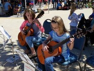 "Lucy And Agatha perform as a ""Sound Oasis"" in the park."